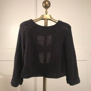 Free People Crop Sweater with Open Back